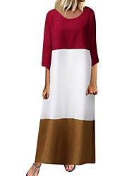 cheap -Women's Maxi Red Black Dress Shift Color Block M L
