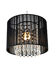 cheap -1-Light Crystal Ceiling Lamp Nordic Entry Crystal LED Chandeliers 1 Light Round Fabric Pendant Light Fixture for Study Bedroom Hallway Black