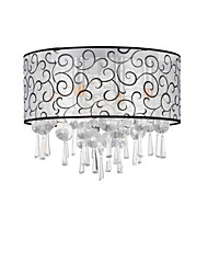 cheap -4-Light Crystal Flush Mount Ceiling Lights Ambient Light Electroplated Chrome Metal Chandelier Fabric Lampshade for Bedroom Hallway Living Room