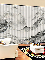 cheap -3D Print Custom Chinese Style Privacy Two Panels Polyester Curtain For Study Room / Office / Living Room Decorative Waterproof Dust-proof High-quality  Curtains