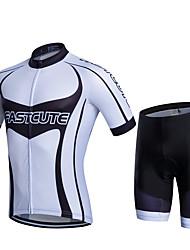 cheap -FUALRNY® Men's Short Sleeve Cycling Jersey with Shorts Green Black / White Black / Green Bike Moisture Wicking Quick Dry Sports Patchwork Mountain Bike MTB Road Bike Cycling Clothing Apparel