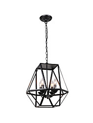 cheap -Chandeliers 4 Lights Candle Pendant Light Cube Shade Industrial Iron Pendant Light Fixtures Island Hanging Lighting Ceiling Light Black