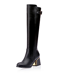 cheap -Women's Boots Knee High Boots Chunky Heel Round Toe Buckle PU Knee High Boots Classic Fall & Winter Black / Brown / White / Party & Evening