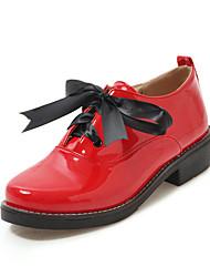 cheap -Women's Oxfords Chunky Heel PU(Polyurethane) Fall / Spring & Summer Black / Leopard / Red