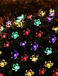cheap -7m New Solar System Lighting 50 LED Flower Raincoat Chain Fairy Tree Christmas Tree Lighting Festival Wedding New Year Decoration Ring 1set
