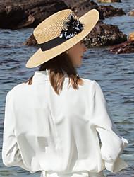 abordables -Fibre naturelle Chapeaux de paille avec Paillette 1pc Décontracté / Usage quotidien Casque