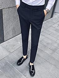 cheap -Men's Basic Dress Pants Pants Striped Black Light Brown Light gray US36 / UK36 / EU44 US38 / UK38 / EU46 US40 / UK40 / EU48