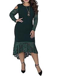 cheap -Women's Asymmetrical Plus Size Wine Green Dress Elegant Sophisticated Sheath Trumpet / Mermaid Solid Colored Lace Patchwork XL XXL Slim