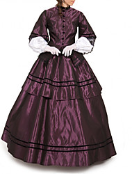 cheap -Duchess Victorian Ball Gown 1910s Edwardian Dress Party Costume Women's Cotton Costume Purple Vintage Cosplay Masquerade Floor Length Long Length Ball Gown Plus Size