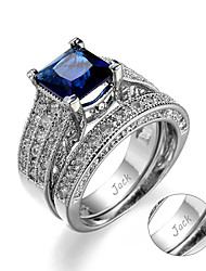 cheap -Personalized Customized Clear Blue Cubic Zirconia Ring Zircon Classic Engraved Gift Promise Festival Square 1pcs Blue / Laser Engraving