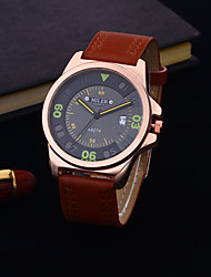 cheap -Men's Dress Watch Quartz Formal Style Leather Blue / Brown Calendar / date / day Casual Watch Analog Fashion - Orange Brown Blue One Year Battery Life / Stainless Steel