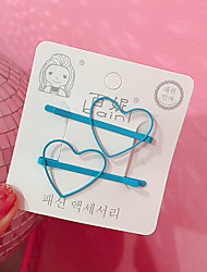 cheap -2 Pcs Korean Style Cute Women Grils Heart-shaped Pentagram Shaped Hair Clip Hair Decoration