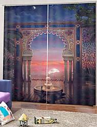 Недорогие -Пасторальный стиль 3d печать пейзаж шторы затемнения 100% полиэстер фон занавес гостиная спальня теплоизоляция занавес