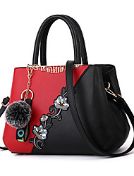 cheap -Women's Zipper / Flower PU Tote Leather Bags Color Block Black / Purple / Red / Fall & Winter
