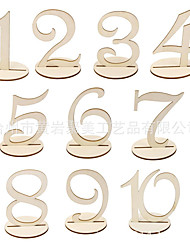 cheap -Wedding Party Supplies 1 to 10 Wooden Table Numbers with Round Holder Base for Home Decoration Catering Reception
