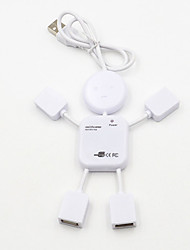 Недорогие -4 порта USB 2.0 высокоскоростной концентратор для ПК ноутбук кукла человек дизайн белый