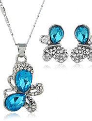 cheap -Women's Cubic Zirconia Stud Earrings Pendant Necklace Classic Butterfly Classic Vintage European Earrings Jewelry Lake Blue / White / Blue For Party Work Festival 3pcs