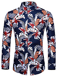 cheap -Men's Casual Basic Shirt - Floral Blue