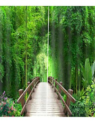 cheap -3D Printing Bamboo Forest Bridge Hot Selling Home Decoration Cloth Curtain Thickening Pure Polyester Multifunctional Bath Curtain/Curtain
