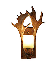 cheap -Antique Wall Light Antler Rustic Wall Sconces American Resin Elks-Shaped LED Wall LampsCreative Art Wall Light Fixture for Corridor