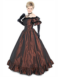 cheap -Duchess Victorian Ball Gown 1910s Edwardian Dress Party Costume Women's Cotton Costume Coffee Vintage Cosplay Masquerade Floor Length Long Length Ball Gown Plus Size