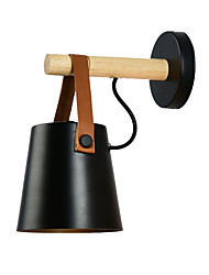 cheap -Modern Nordic Novelty Matte Black Wall Lamp Bed Light Wood Wall Sconce for Bedroom Hallway Study Room(1 Light)