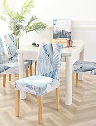 Недорогие -чехлы на стулья из полиэстера с реактивной печатью / стильный бело-синий цветочный узор / очень эластичный