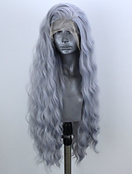 cheap -Synthetic Lace Front Wig Wavy Side Part Lace Front Wig Long Grey Synthetic Hair 20-24 inch Women's Adjustable Heat Resistant Party Dark Gray