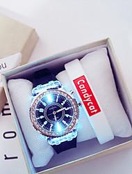 cheap -Couple's Sport Watch Quartz New Arrival Chronograph Analog White Black / Silicone / Luminous