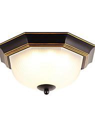 cheap -1-Light LED Ceiling Light Fixtures Glass Ceiling Lamp Antique Ceiling Light Round Shape Country Led Pendant Light Flush Mount for Bedroom Corridor Black