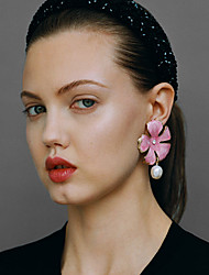 cheap -Women's Earrings Sculpture Flower Classic Vintage Ethnic Sweet Pearl Earrings Jewelry Pink For Gift Daily Street Work 1 Pair