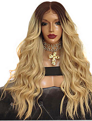 cheap -Synthetic Lace Front Wig Body Wave Free Part Lace Front Wig Ombre Long Black / Gold Synthetic Hair 26 inch Women's Adjustable Heat Resistant Classic Ombre