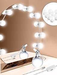 abordables -1set led miroir cosmétique 10bulbs usb charge make up miroirs ampoule intensité réglable lumières maquillage miroir