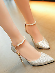 cheap -Women's Sandals Stiletto Heel Closed Toe Sequin PU(Polyurethane) Casual Spring & Summer Black / Gold / Silver