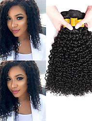 cheap -6 Bundles Indian Hair Kinky Curly Unprocessed Human Hair 100% Remy Hair Weave Bundles Natural Color Hair Weaves / Hair Bulk Bundle Hair Human Hair Extensions 8-28 inch Natural Color Human Hair Weaves