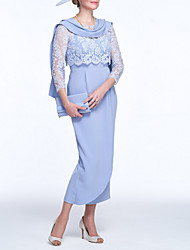 cheap -Two Piece / Sheath / Column Bateau Neck Ankle Length Polyester / Lace 3/4 Length Sleeve Elegant / Vintage / Plus Size Mother of the Bride Dress with Split Front 2020