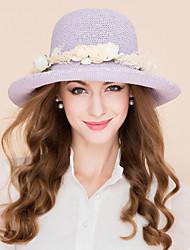 abordables -Fibre naturelle Chapeaux de paille avec Fleur 1pc Décontracté / Usage quotidien Casque