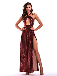 cheap -Diva Disco 1980s Dress Women's Sequins Costume Burgundy / Pink Vintage Cosplay Prom Sleeveless Floor Length A-Line