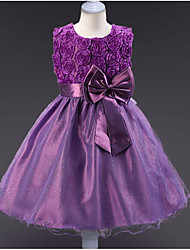 cheap -Princess Knee Length Flower Girl Dress - Polyester / Tulle Sleeveless Jewel Neck with Appliques / Bow(s) / Belt