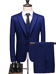 cheap -Blue Solid Colored Standard Fit Polyester Suit - Notch Single Breasted Two-buttons