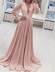 cheap -A-Line Plunging Neck Sweep / Brush Train Chiffon Elegant Formal Evening Dress 2020 with Appliques