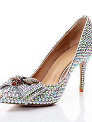 cheap -Women's Wedding Shoes Stiletto Heel Pointed Toe Bowknot / Sparkling Glitter PU(Polyurethane) Sweet / Minimalism Spring & Summer / Fall & Winter Rainbow / Party & Evening