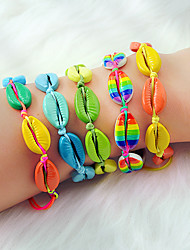 cheap -Women's Loom Bracelet Braided Shell Holiday Boho Colorful Alloy Bracelet Jewelry Green / Blue / AB White Color For Daily Holiday Work
