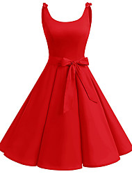 cheap -Women's Vintage Basic Little Black Swing Dress - Solid Colored Bow Drawstring Black Red Navy Blue S M L XL