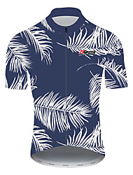 cheap -21Grams Floral Botanical Hawaii Men's Short Sleeve Cycling Jersey - Sky Blue+White Bike Jersey Top Breathable Moisture Wicking Quick Dry Sports 100% Polyester Mountain Bike MTB Road Bike Cycling