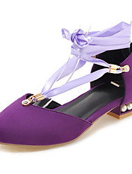 cheap -Women's Heels Chunky Heel Suede Fall / Spring & Summer Black / Purple / Yellow