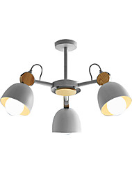 cheap -3-Light Modern Simple Ceiling Light Semi Flush 3 Lights Chandelier Downlight Painted Finishes Metal Pendant Light Fixture Head Rotatable with Solid Wood Decor