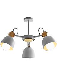 Недорогие -современный простой потолочный светильник полупрозрачный 3 светильника люстра потолочный светильник окрашенный металл металлический подвесной светильник голова вращающаяся с декором из цельного дерева