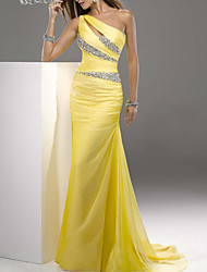 cheap -Sheath / Column One Shoulder Sweep / Brush Train Chiffon Sexy / Yellow Engagement / Formal Evening Dress with Crystals / Draping 2020