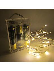 Недорогие -1.5 В 2 м 20 светодиодов привели серебряный провод полосы света 2 АА с батарейным питанием гирлянды рождественские праздники свадьба
